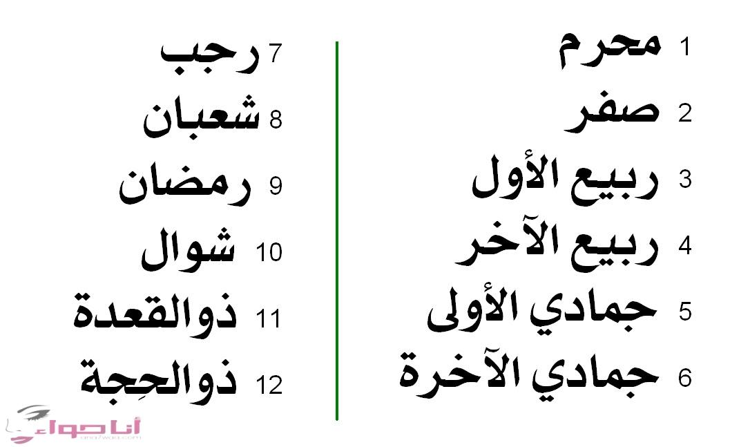 أسماء الشهور الهجرية